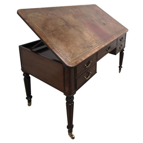 George iv mahogany writing table architects desk for Architecte desl definition
