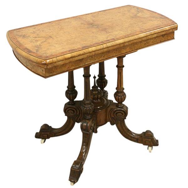 Mid victorian burr walnut card table georgian antiques for Table 52 cards 2014
