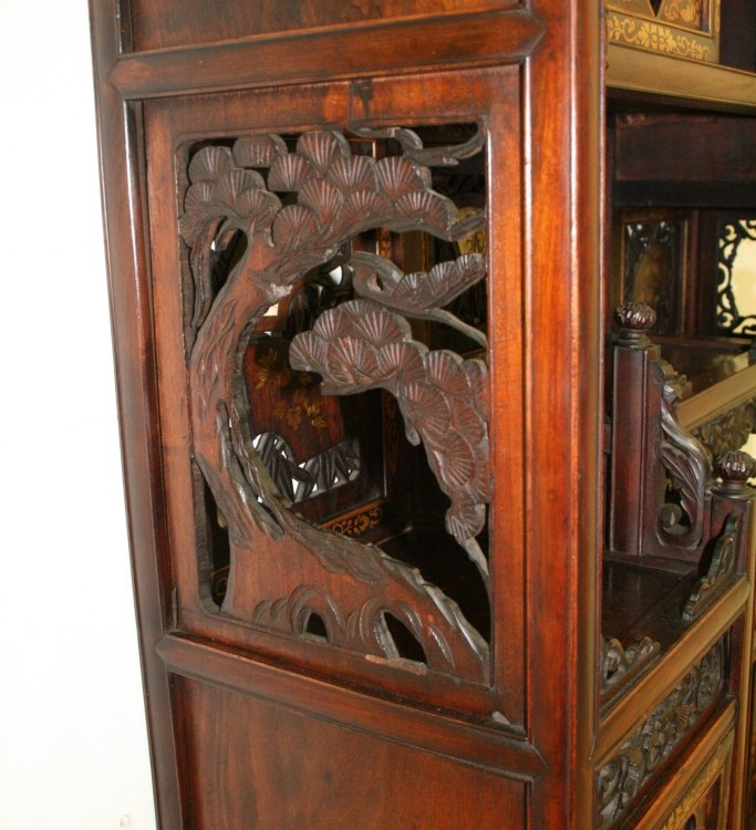 Japanese carved shodana cabinet georgian antiques for Carved kitchen cabinets