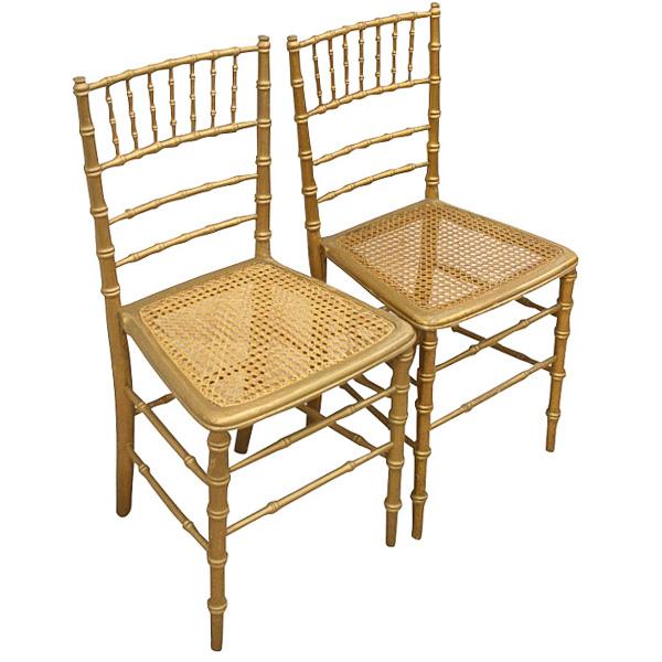 Pair Of Gilt Faux Bamboo Chairs Georgian Antiques