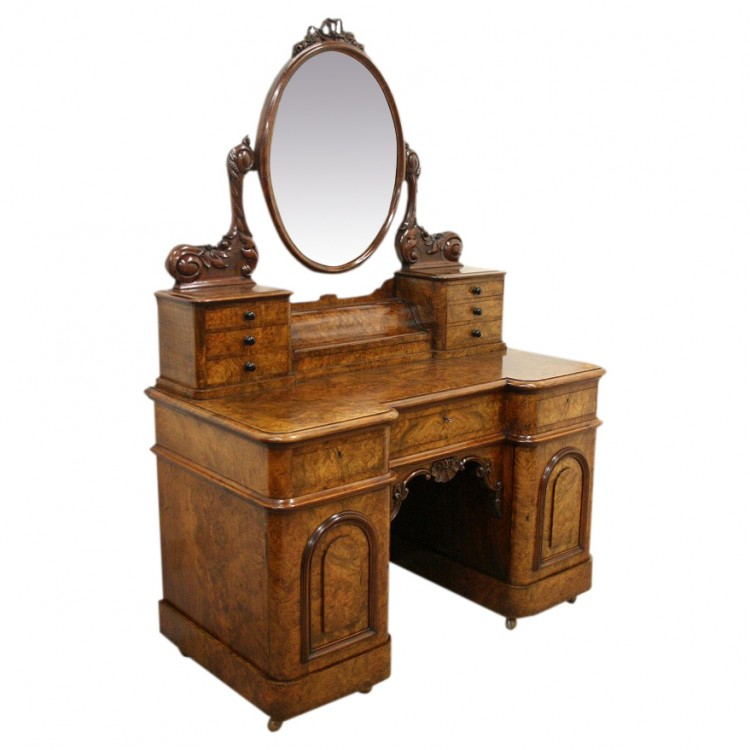 Exhibition quality victorian burr walnut dressing table for Dressing table