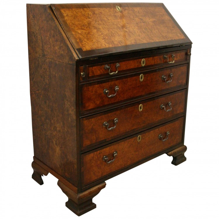 george iii mahogany and burr elm bureau georgian antiques. Black Bedroom Furniture Sets. Home Design Ideas