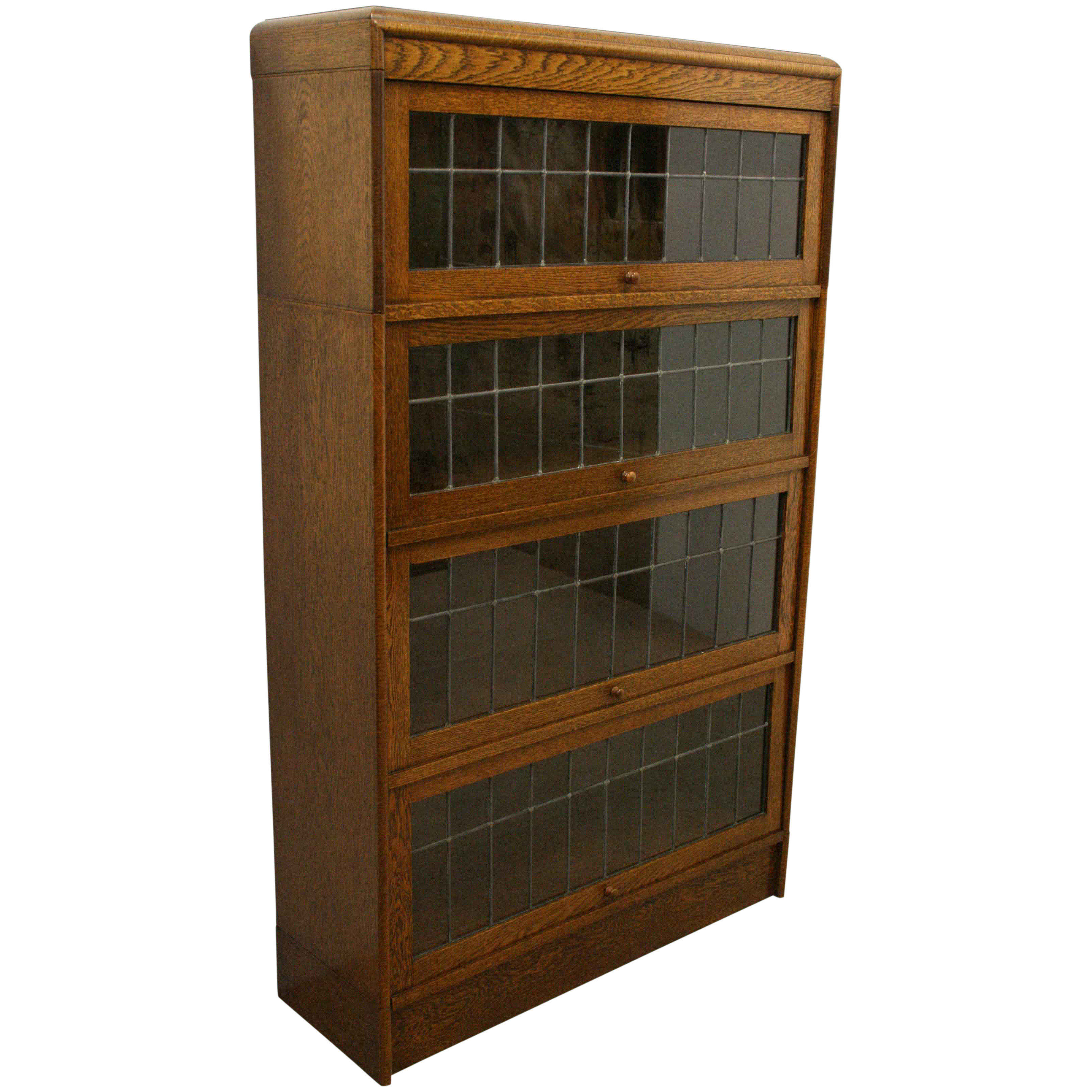 Sectional Stacking Oak And Leaded Glass Bookcase
