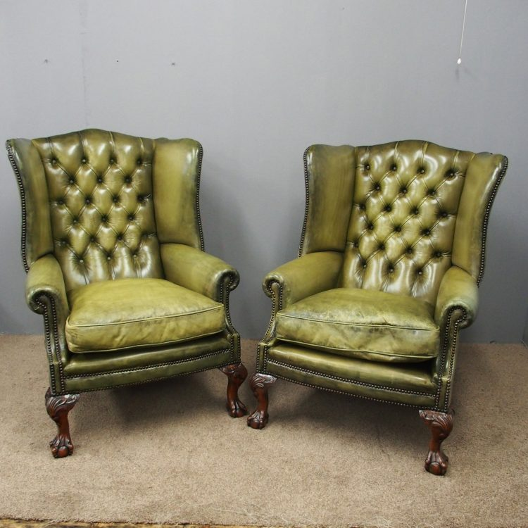Fabulous Pair Of Georgian Style Green Leather Wing Chairs Camellatalisay Diy Chair Ideas Camellatalisaycom