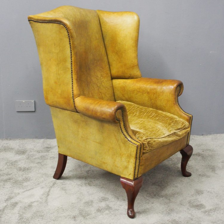 Enjoyable George Iii Style Green Leather Wing Chair Camellatalisay Diy Chair Ideas Camellatalisaycom